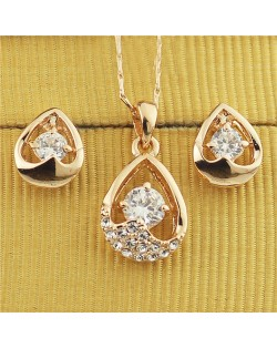 Austrian Rhinestone and Crystal Embellished Hollow Waterdrop Design Rose Gold Plated Necklace and Earrings Set