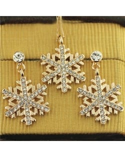 Rhinestone Embellished Snowflake Pendant Rose Gold Plated Necklace and Earrings Set
