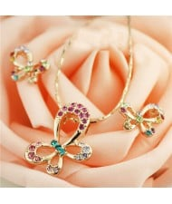 Rhinestone Embellished Rose Gold Plated Butterfly Theme Necklace and Earrings Set - Multicolor