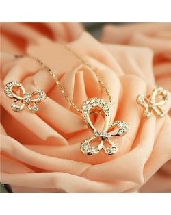 Rhinestone Embellished Rose Gold Plated Butterfly Theme Necklace and Earrings Set - Transparent