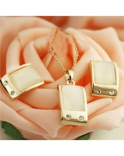 Opal Inlaid Graceful Square Design Rose Gold Plated Necklace and Earrings Set