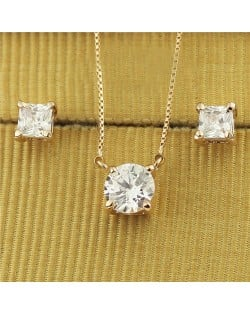 Austrian Crystal Classic Design Rose Gold Necklace and Earrings Set