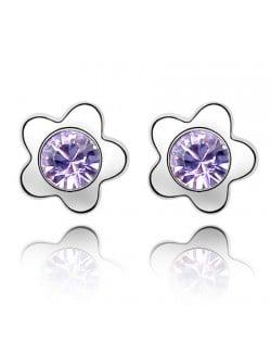 Sweet Plum Blossom Design Austrian Crystal Ear Studs - Violet