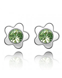 Sweet Plum Blossom Design Austrian Crystal Ear Studs - Olive