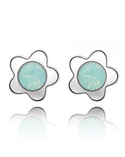 Sweet Plum Blossom Design Austrian Crystal Ear Studs - White Green