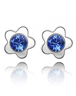 Sweet Plum Blossom Design Austrian Crystal Ear Studs - Blue