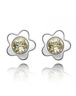 Sweet Plum Blossom Design Austrian Crystal Ear Studs - Light Yellow