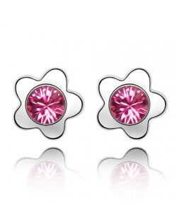 Sweet Plum Blossom Design Austrian Crystal Ear Studs - Rose