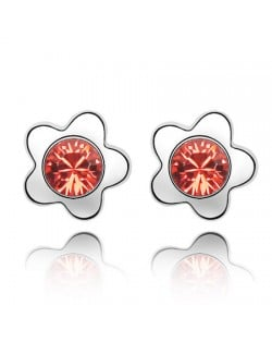 Sweet Plum Blossom Design Austrian Crystal Ear Studs - Red
