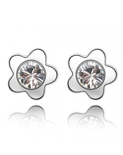 Sweet Plum Blossom Design Austrian Crystal Ear Studs - White