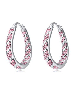 Austrian Crystal Embellished Hollow Waterdrop Design Platinum Plated Dangling Earrings - Rose
