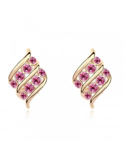 Angel Wings Inspired Design Austrian Crystal Golden Plated Ear Studs - Rose