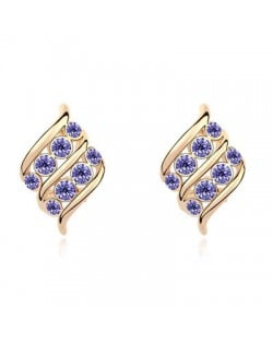 Angel Wings Inspired Design Austrian Crystal Golden Plated Ear Studs - Violet