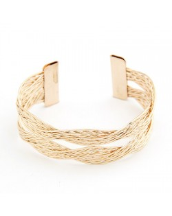Weaving Threads Design Bangle - Golden