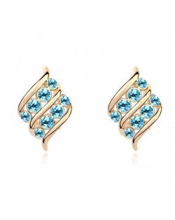 Angel Wings Inspired Design Austrian Crystal Golden Plated Ear Studs - Sea Blue