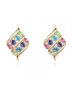 Angel Wings Inspired Design Austrian Crystal Golden Plated Ear Studs - Multicolor