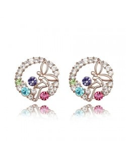 Flying Angel in the Flowers Design Austrian Crystal Round Ear Studs - Multicolor