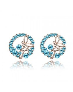 Flying Angel in the Flowers Design Austrian Crystal Round Ear Studs - Aquamarine