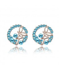 Flying Angel in the Flowers Design Austrian Crystal Round Ear Studs - Aquamarine