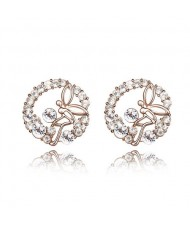 Flying Angel in the Flowers Design Austrian Crystal Round Ear Studs - Transparent