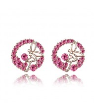 Flying Angel in the Flowers Design Austrian Crystal Round Ear Studs - Rose