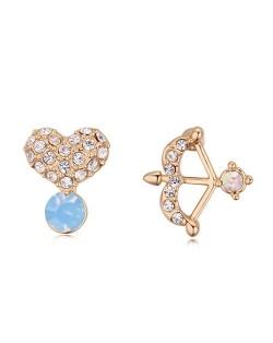 Cute Bow and Heart Asymmetric Design Austrian Crystal Ear Studs - White Blue