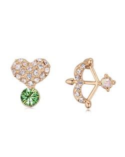 Cute Bow and Heart Asymmetric Design Austrian Crystal Ear Studs - Olive
