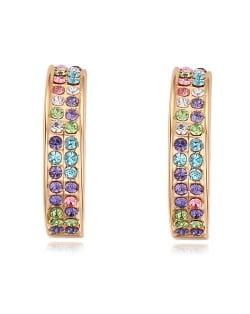 Austrian Crystal Inlaid 18k Golden Plated Arch Shape Ear Studs - Multicolor