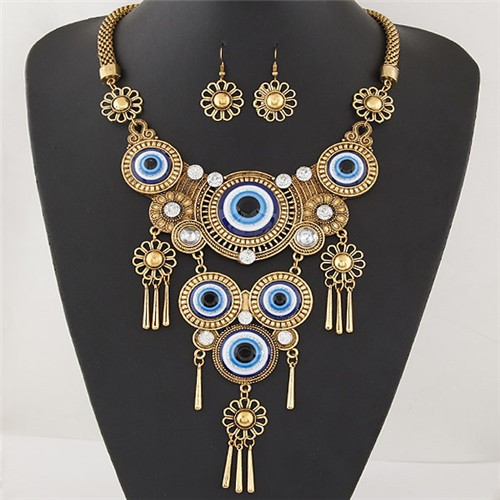 Western Fashion Eye Balls Gem Inlaid Flower Style With Tassel Costume Necklace And Earrings Set