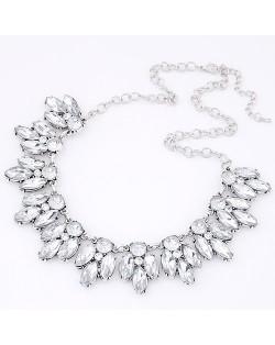 Resin Gem Leaflet Costume Necklace - Silver