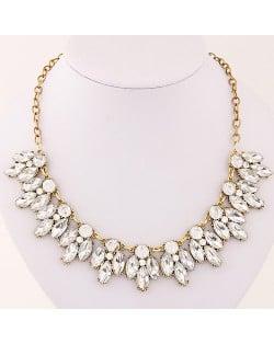 Resin Gem Leaflet Costume Necklace - Golden