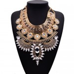 Gem Embellished Multi-layer Fashion Waterdrop Theme Chunky Costume Necklace - Golden with Transparent Gem