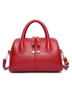 Belt Decorated Solid Color Women Leather Handbag/ Shoulder Bag - Red