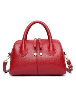 00ce3d263b Belt Decorated Solid Color Women Leather Handbag  Shoulder Bag - Red