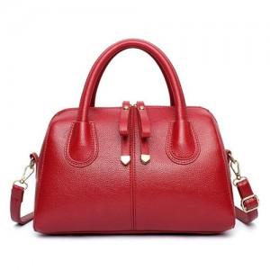 Belt Decorated Solid Color Women Leather Handbag/ Shoulder Bag - Red