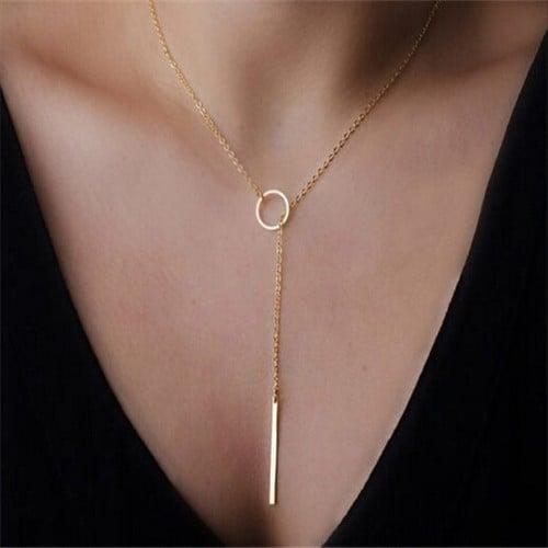 Simple Design Long Chain Pendant Necklace