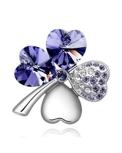 Austrian Crystal and Czech Stones Four Leaf Clover Brooch - Amethyst