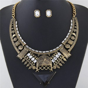 Western Style Assorted Elements Combo Hollow Arch With Triangle Design Fashion Necklace And