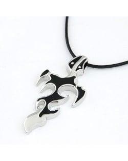 Distinctive Design Black Flame Pendant Men Necklace