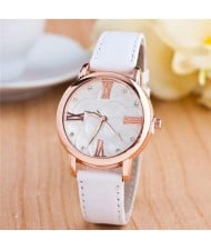 Graceful Golden Rim Roman Character Luminous Hands Design Leather Fashion Watch - White