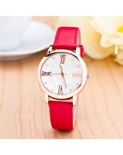 Graceful Golden Rim Roman Character Luminous Hands Design Leather Fashion Watch - Red