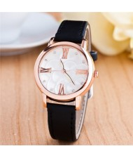 Graceful Golden Rim Roman Character Luminous Hands Design Leather Fashion Watch - Black