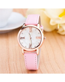 Graceful Golden Rim Roman Character Luminous Hands Design Leather Fashion Watch - Pink
