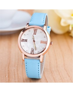 Graceful Golden Rim Roman Character Luminous Hands Design Leather Fashion Watch - Light Blue