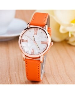 Graceful Golden Rim Roman Character Luminous Hands Design Leather Fashion Watch - Orange