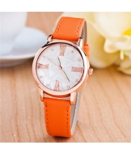 Graceful Golden Rim Roman Character Luminous Hands Design Leather Fashion Watch - Orange