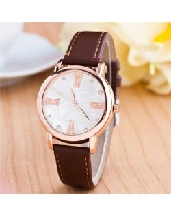 Graceful Golden Rim Roman Character Luminous Hands Design Leather Fashion Watch - Coffee