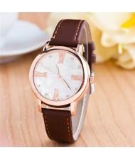 Graceful Golden Rim Roman Character Luminous Hands Design Leather Fashion Watch - Coffee