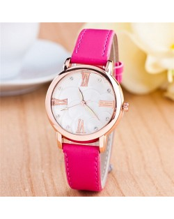 Graceful Golden Rim Roman Character Luminous Hands Design Leather Fashion Watch - Rose