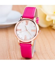 Graceful Golden Rim Roman Character Luminous Hands Design Leather Fashion Watch - Rose